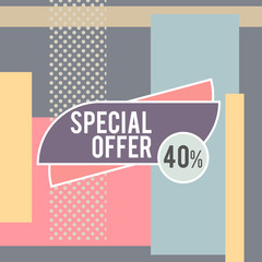 Super Sale modern banner in the Memphis style