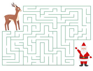 Christmas maze game for kids. Cartoon characters. Help deer find Santa Claus. Vector illustration.