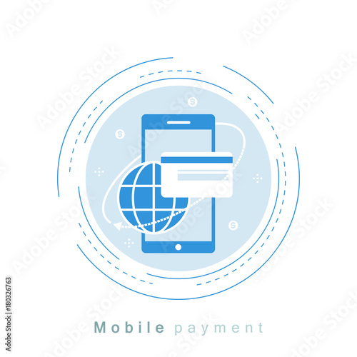Mobile Payment Money Transfer Online Flat Line Vector Ilration Design Business And Finance For Web Banners S