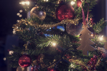 Retro image of decorations on a Christmas tree