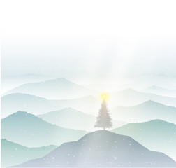 Tranquil hills with Christmas tree on the top, vista landscape with lighting Christmas tree, vector,