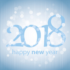 Best Wishes - Blue Abstract Modern Style Happy New Year Greeting Card, Cover or Background, Creative Design Template - 2018
