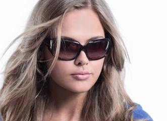 Close up young woman wearing the big modern sunglasses