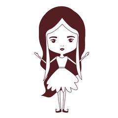 girly fairy without wings and long wavy hair in brown dotted silhouette on white background