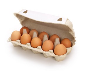 Ten brown eggs in a carton package, contains clipping path