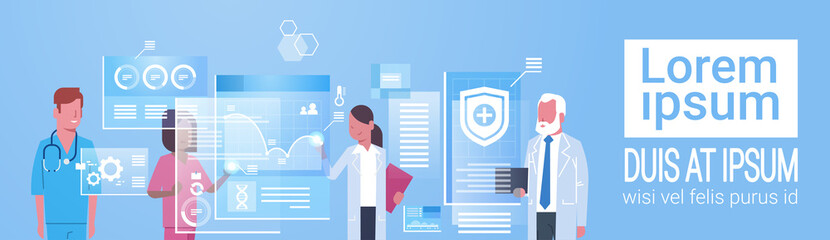 Medicine And Technology Concept Medical Doctors Group Using Modern Digital Computer Flat Vector Illustration