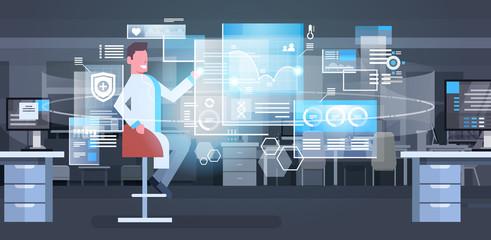 Group Of Medical Doctors Using Digital Screen Modern Medicine Technology Concept Flat Vector Illustration