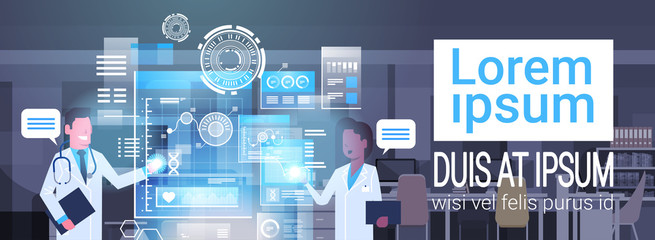 Doctors Using Virtual Computer Innovation Technology Concept Modern Medical Treatment Flat Vector Illustration