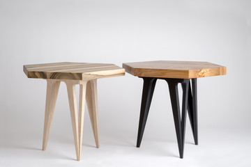 Two Modern Wooden Coffee Tables with Hexagonal Tops