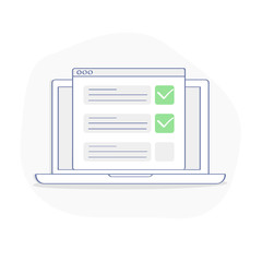 Checklist on laptop display, checkboxes with check mark. List of purchases, tasks, to do, wish list on the website concept. Flat outline vector design, premium quality trendy icon.