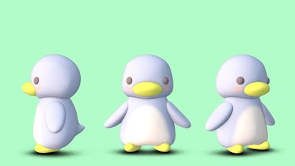 ペンギン 3D CGイラスト 素材 正面 3パターン