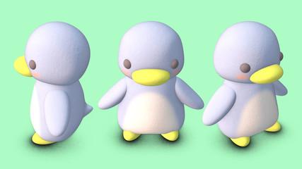 Penguin 3D CG illustration obliquie