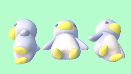 Penguin 3D CG illustration under