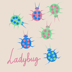 Pattern with ladybugs. Hand drawn.