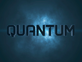 Quantum word text on dark background with clouds