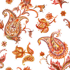 Seamless watercolor pattern Paisley, watercolor. Oriental pattern, hand drawing.