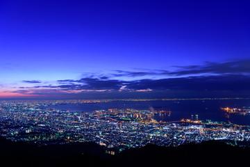大阪、神戸の夜景 摩耶山掬星台からの眺め