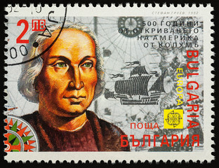 Christopher Columbus on postage stamp