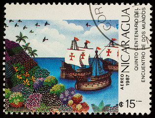 Sailing ships of Columbus on postage stamp