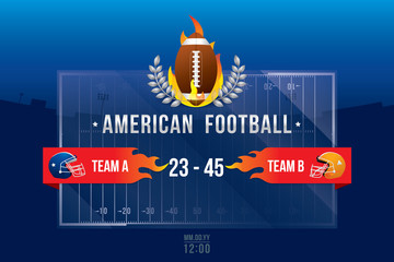 Vector of American football  with team competition and scoreboard on field background.