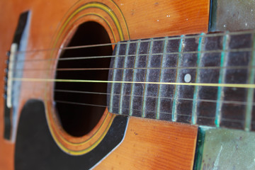 Close up my old guitar
