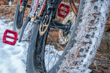 fat bike on winter trail