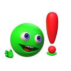 excited funny 3d cartoon character holding a red exclamation mark (3d render isolated on white background)