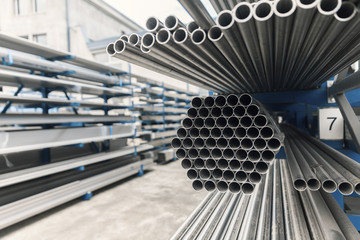 metal inox pipe on stack