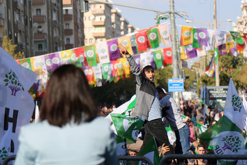 Supporters of the pro-Kurdish HDP take part in a rally in Diyarbakir