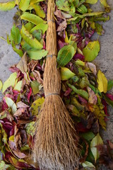 broom made of branches and a pile of fallen leaves in autumn colors