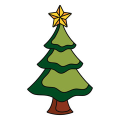 christmas tree icon over white background colorful design  vector illustration