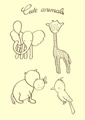 Set of vector hand drawn outline cute animals.