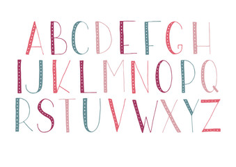 Hand drawn vector alphabet.
