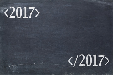 2017 year concept on blackboard