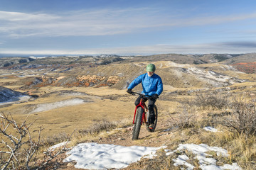 riding a fat bike on Colorado foothills