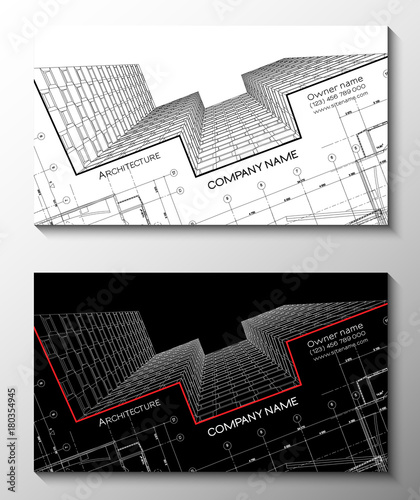 Vector set of modern creative business cards for architect 3d vector set of modern creative business cards for architect 3d architectural background for banner reheart Image collections