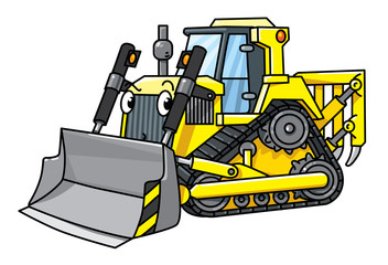 Funny small bulldozer with eyes