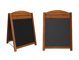 Wooden sandwich board isolated on white background, 3D rendering