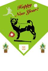 野球・ベースボールと犬のイラスト年賀状テンプレート戌年2018