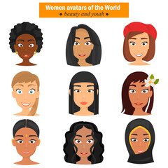 Different nationalities girls avatar faces color flat icons set