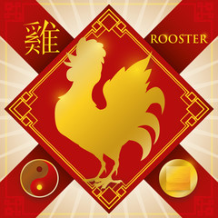Charm with Chinese Zodiac Rooster, Metal Element and Yin Symbol, Vector Illustration