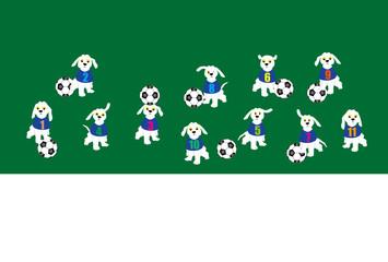 サッカーボールと犬のイラストのはがきテンプレート