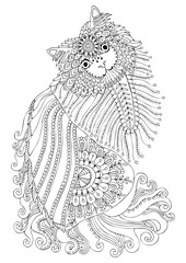 Hand drawn kitty. Sketch for anti-stress adult coloring book in zen-tangle style. Vector illustration for coloring page.