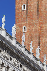 National Library of St Mark's (Biblioteca Marciana), statues at the top, Venice, Italy