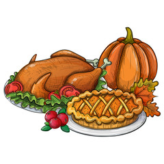 Traditional Thanksgiving food, colorful sketch illustration. Vector