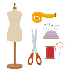 Female tailors dummy and accessories for sewing. Vector