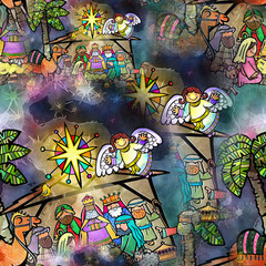Seamless Watercolour Christmas Nativity Scene. Digitally created.
