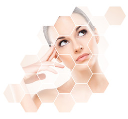Human face in honeycomb. Young and healthy woman in plastic surgery, medicine, spa and face lifting concept.