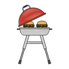 grill oven with burgers vector illustration design