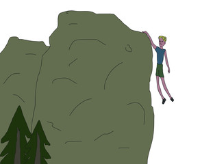 young men hanging from the rock only one hand near falling off the cliff rough sketch vector illustration